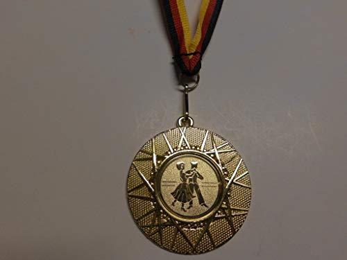 Fanshop Lünen 10 Stück Medaillen - mit Alu Emblem Tanzen - aus Metall 50mm / Gold - inkl. Medaillen Band - Medaille - (e225) -