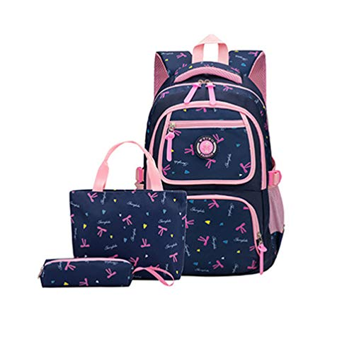 MCUILEE Conjunto de 3 Niños Bolsas de Libros Escuela/Bolsas Escolares/Mochila niños niñas Adolescentes + Bolso Crossbody+Bolsa lápiz (Azul Oscuro)