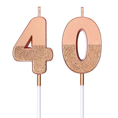 BBTO Candele di Compleanno 40 Glitter Candele di Numero per Torta Topper di Torta di Compleanno 40 Decorazione per Bomboniera di Compleanno Nozze Anniversario Matrimonio, Oro Rosa