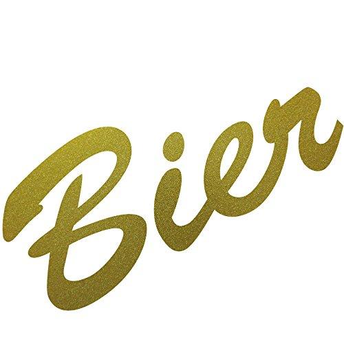 Schriftzug Bier 15cm Aufkleber Tattoo Wandtattoo Fenster Möbel Theke Bar Deko Folie (gold)