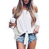 Camiseta Manga Corta Mujer Personalidad Moda Verano Mujer Tops Único Rayas Hombros Descubiertos Diseño Mujer T-Shirts Ocio Diario Informal Cómodo All-Match Mujer Blusa A-White M