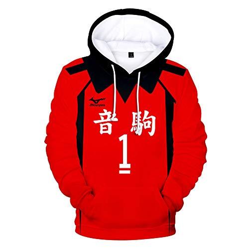 Haikyuu Cosplay Hoodie Shirt, Nekoma High School mit Outfit Nummer, Volleyball Uniform Trikots Pullover Cosplay Jacke Mantel Anime Sweatshirt Sportswear Cosplay Kostüm für Frauen Männer