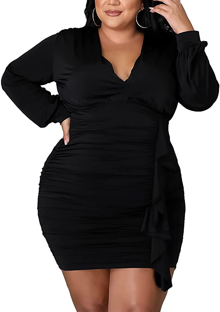 IyMoo Sexy Plus Size Pleats Dress - Bodycon Ruched Mini Dress Long Sleeve V Neck Club Party Dresses