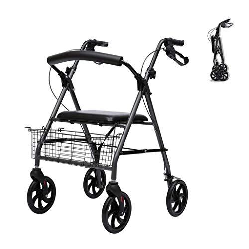 Andador Ligero, Plegable, 4 Ruedas, Andador Con Asiento, Cesta De La Compra, Marco Para Caminar Para Personas Mayores, Carro De Ayuda De Movilidad De Altura Ajustable, Ayudas Para Discapacitad