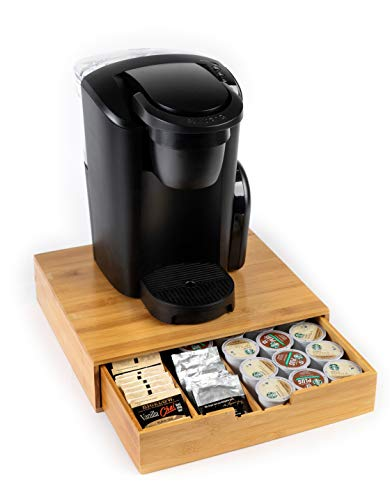 BAMBOO LAND BAMBOO LAND mind reader k cup holderstorage bamboo coffee cup drawer storageorganizer K- cup holder bamboo leaf tea box Verismo Dolce Gusto K-Cup Carousel