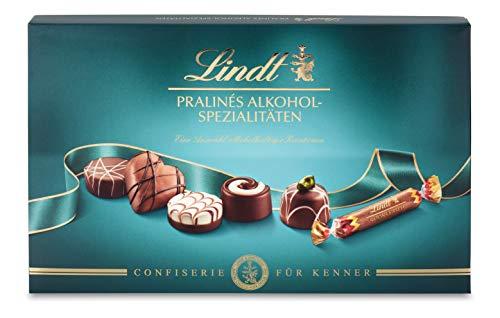 Lindt Pralinés Alkoholspezialitäten für Kenner, Schokoladen-Geschenk mit 7 unterschiedlichen Alkoholpralinen, 200 g