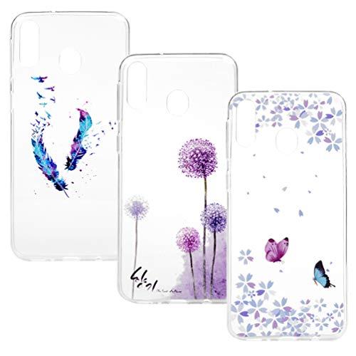 [3 Rückhülle] - Handyhülle für Samsung Galaxy A20E Hülle Transparent Case Cover Silikon Slim Tasche Durchsichtige Schutzhülle Handytasche Dünn Softcase Schale Bumper Handycover Blume Schmetterling