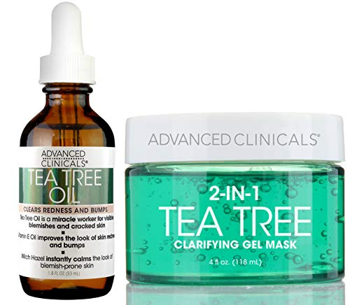 Advanced Clinicals Tea Tree oil Set. Tea Tree Face oil and Tea Tree Oil Mask for pores, dry skin, redness for smooth, clear skin. 1.8oz face oil. 4oz mask