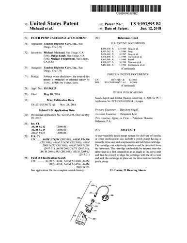 Patch pump cartridge attachment: United States Patent 9993595 (English Edition)