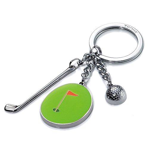 TROIKA Schlüsselanhänger,Hole IN ONE - KR11-33/CH - Golf Schlüsselhalter - 3 Charms: Golfball, Golfschläger, Putting Green mit Fähnchen - Metall/Emaille - das Original von TROIKA