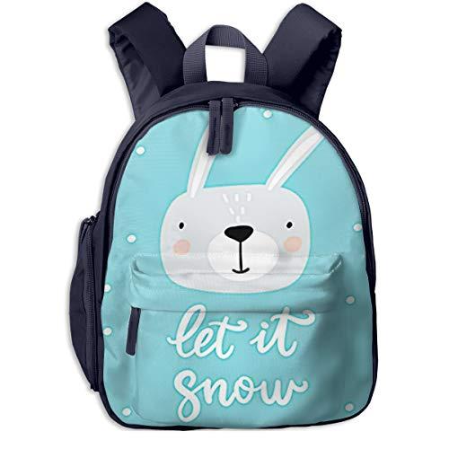 Kinderrucksack Kleinkind Jungen Mädchen Kindergartentasche Bunny Christmas Schriftzug Tiere Backpack Schultasche Rucksack