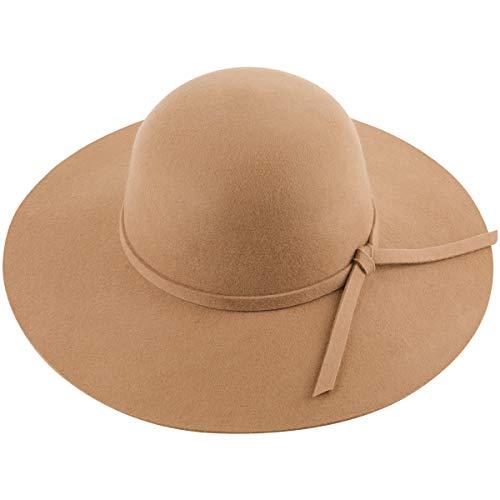 Lanzom Women Lady Retro Wide Brim Large Floppy Panama Hat Belt Wool Fedora Hat (Style A-Camel, One Size)
