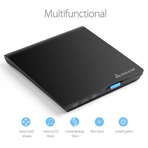 SALCAR Externes DVD-Brenner (CD/DVD) Laufwerk tragbar RW Chip für Laptops/Desktop Windows und Mac OS kompatibel
