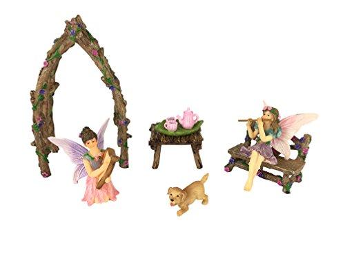 GlitZGlam Set Fate Sorelle musicanti in Miniatura - 7 Pezzi - Fate in Miniatura - Acessori da Giardino
