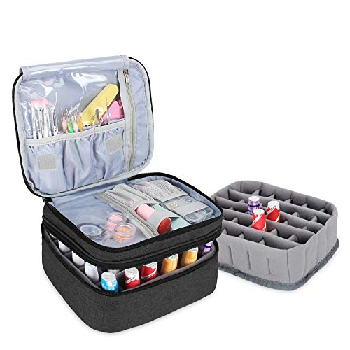 Luxja Nail Varnish Storage Case for Nail Polish, Nail Varnish Holder, Nail Polish Carrying Case - Holds 30 Bottles (15ml - 0.5 fl.oz), Double-Layer Storage Bag for Nail Varnishes and Manicure, Black