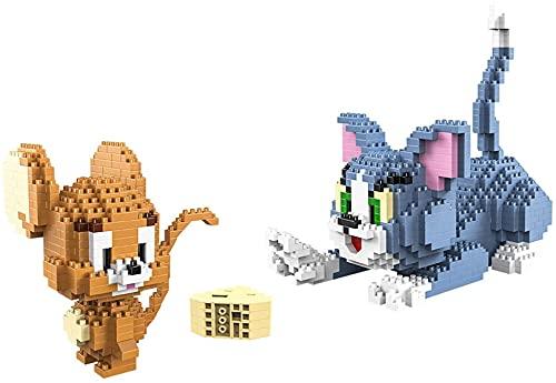 SCXY NIÑOS Dibujos Animados Bloques de construcción Mini Gato Edificio Bricks Toy Raton Tom Jerry Gran Regalo 1524pcs