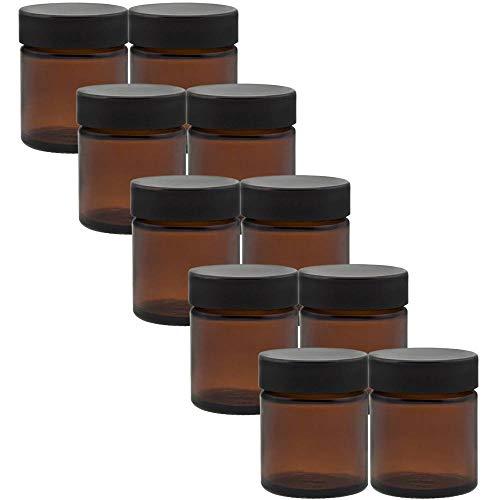 10 kleine Glastiegel/Salbentiegel/Cremetiegel aus Braunglas 30 ml inkl. Etiketten