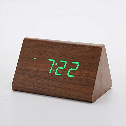 Huanhog Wecker Holz Wecker Desktop-Digitaluhr Sound Control Snooze Holz LED-Taktgeber-Thermometer-Ausgangsdekor Wake Up Licht Lichtwecker (Color : BrownGreen)