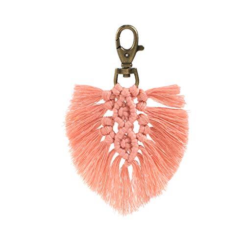 KLOVA Schlüsselkette, Schlüsselkette für Damen Tasche Auto Schlüsselring Quasten Tasche Charm Holder Ornamente Schlüsselbund-Pink
