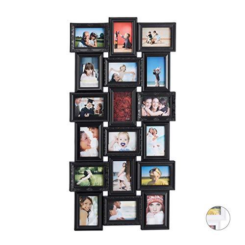 Relaxdays Bilderrahmen Collagen, 18 Bilder, 10x15, Hoch- & Querformat, antik, Wand Fotocollage HxB 104 x 54 cm, schwarz