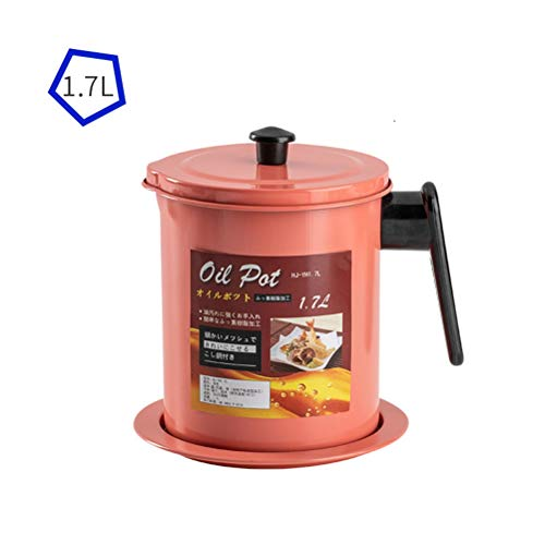 1.7L Grease Oil Strainer Container Pot Filter Cooking Oil Fat Separator Storage Can with Fine Mesh Strainer for Frying Cooking Kitchen Utensil (Color : Pink)