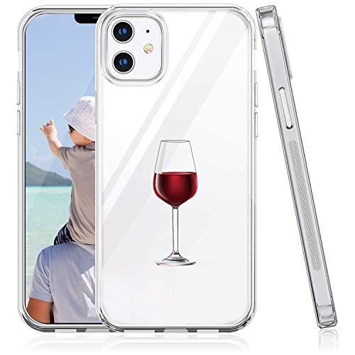 Suhctup Funda Compatible para iPhone 12 Mini, Transparente Dibujos Protección Carcasa Suave Silicona Gel TPU Bumper Ultra-Delgado Antigolpes Case Cover(Copa de Vino Tinto)