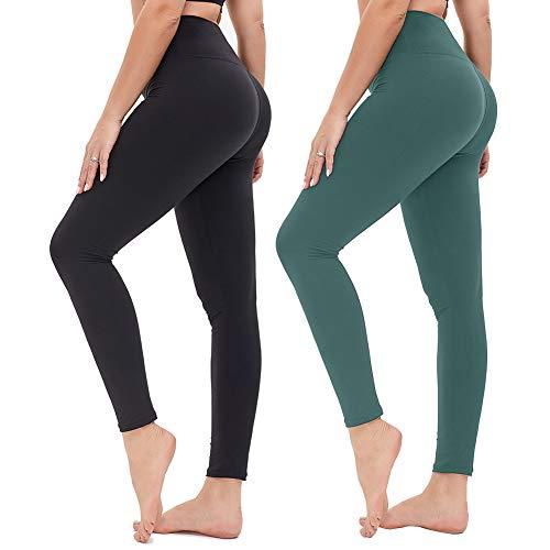 Damen Leggings Sporthose mit Hohem Bund - Yogahose Laufhose Fitnesshose Leggins Yoga Sport Leggings Tights für Damen zum Laufen, Radfahren, Fitness (2er Pack- Schwarz& Dunkelgrün, One Size(DE 34-40))