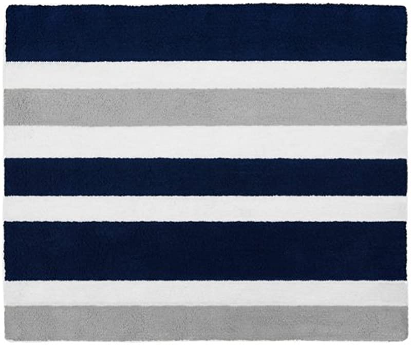Sweet Jojo Designs Navy Blue Gray And White Accent Floor Rug For Stripe Kids Teen Bedding Collection
