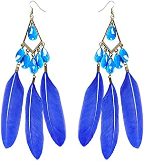 1 pair blue Feather earrings bead bronze rhombus charming dangle ornament new