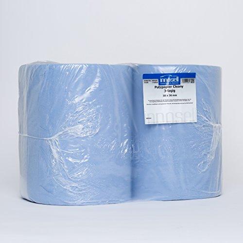 Innosell Papierrolle Putzpapier Blau 3 lagig fusselarm 38x38 High Quality 500 Blatt 2 Rollen