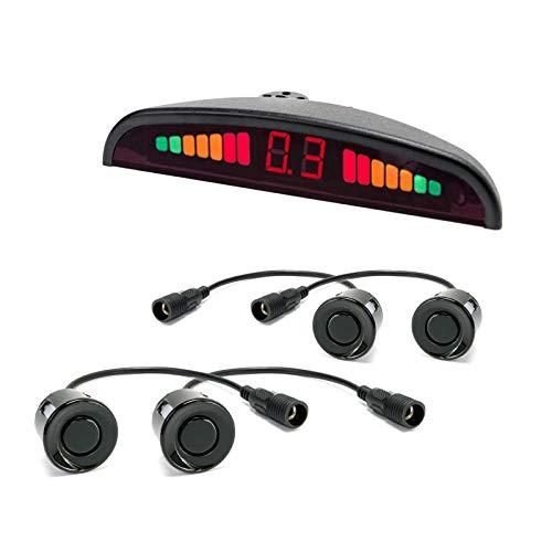 HaWoTEC Auto KFZ PKW Einparkhilfe Funk Kabellos Parkpilot Universal für Stoßstange hinten 4 Sensoren PDC zum nachrüsten und einbauen für Garage schwarz lackiert
