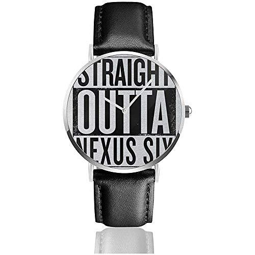 Unisex Blade Runner Straight Outta Nexus Sechs Uhren Quarzlederuhr mit schwarzem Lederband