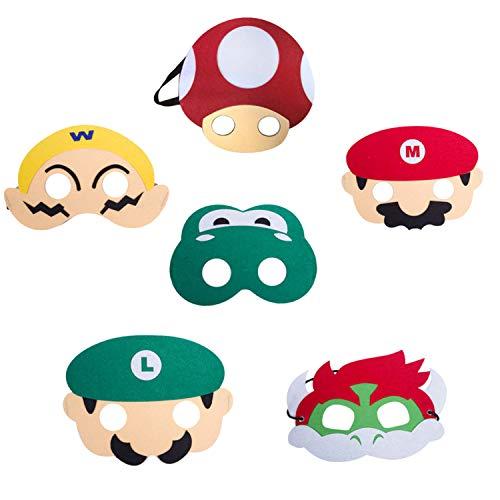 HONGTEYA Super Mario Bros Kinder Maske 6Pcs Cosplay Party Masken für Kinder Jungen Mädchen Geburtstagsfeier Dekoration Halloween Dress Up Favor Geschenke