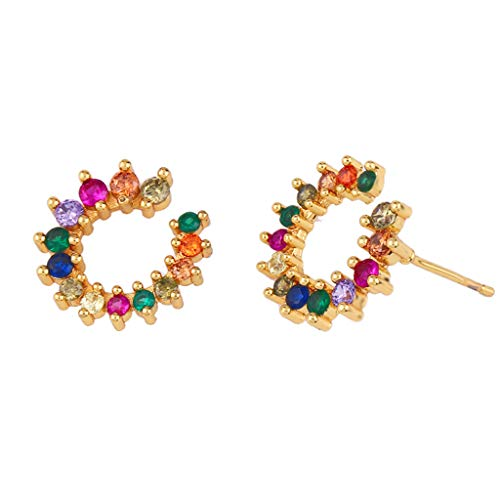 QIANGU Pendientes de círculo, color círculo circón redondo pendientes chapados en oro de lujo de las mujeres aro de regalo
