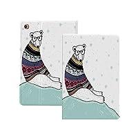 iPad Pro 12.9 ケース 2020 クマ、氷の上に座っているフェアアイルスタイルのセーターとヒップスターシロクマクリスマス雪片装飾、多色 クマ 軽量 TPU レザー スマート 耐衝撃 傷防止 クリア ハード スタンド オートスリープ ウェイクアップ 機能 多色