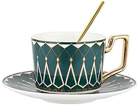 Juegos de té de Porcelana Juego de Tazas de café de Porcelana de Hueso recién Llegado Juegos de té de la Tarde en inglés Juegos de té Negro de 220 ml con Cuchara Juego de té inglés Regalo para un Am