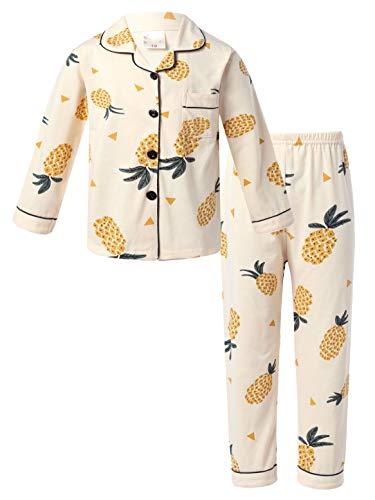 Agoky Mädchen Jungen Zweiteiler Schlafanzug Pyjama Set Langarm Hemd + Lange Hose Kinder Satin Nachtwäsche Gelb G 122-128
