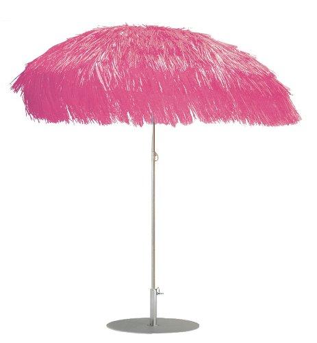 Jan Kurtz - Hawaii sombrilla de Playa Hawai 200cm Rosa con Flecos Rafia Pantalla Bast