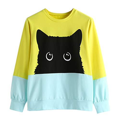 Check Out This Gleamfut Womens Cat Printed Colorblock Pullover Tops Autumn Casual Long Sleeve 0-Neck...