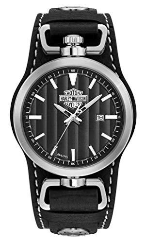 Harley-Davidson Men's B&S Rotating Case Cuff Watch, Black Leather Strap 76B185