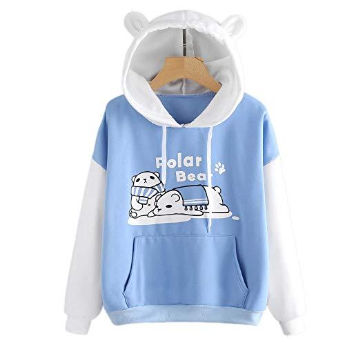 HOTHONG Femme Hoodies Imprimé Shirt Chemisier à Capuche Veste Blouse Patchwork Pull-Over Pulls Automne Hiver Casual Sweat-Shirt T-Shirts