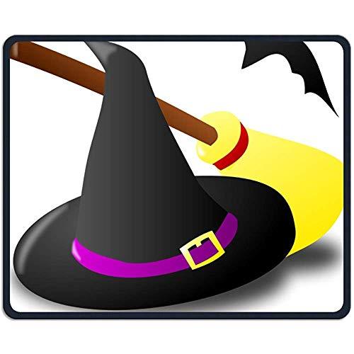 Schreibtischunterlage,Halloween Hexenhut Besen Und Fledermaus Schöne Persönlichkeit Design Mobile Gaming Mouse Pad 18X22 Cm