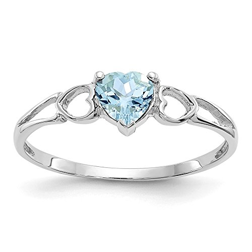 14k White Gold Blue Aquamarine Birthstone Band Ring Size 6.00 March Fine Jewelry For Women Gifts For Her