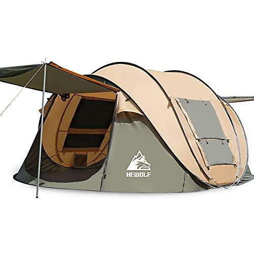 テント ワンタッチ キャンプテント ポップアップ 2人用-4人用 大空間 軽量 通気性 UVカット 防風 アウトドア用品 海 花見 運動会 収納袋付き アウトドアテント (4人用, ベージュ)