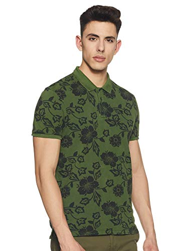 Scotch & Soda heren poloshirt Classic garment-dyed pique polo with all-over print