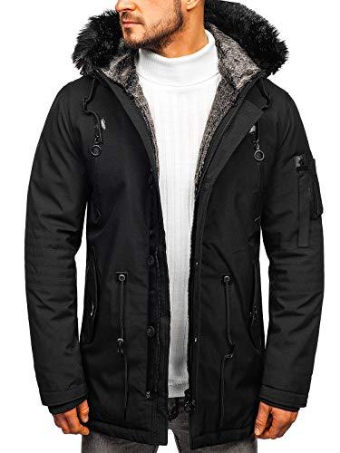 BOLF Herren Winterjacke Kapuze Wintermantel Parka Casual Style J.Boyz 1068 Schwarz XL [4D4]