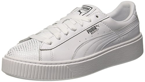 Puma Basket Platform Ocean Wn's, Scarpe da Ginnastica Basse Donna, Bianco White Silver White, 37 EU