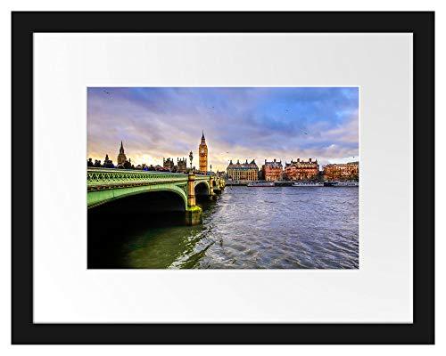 Picati Big Ben an der Themse Bilderrahmen mit Galerie-Passepartout/Format: 38x30cm / garahmt/hochwertige Leinwandbild Alternative