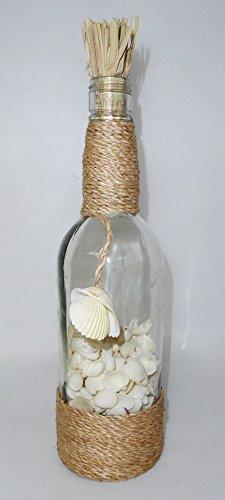 Decoro mare e conchiglie Bouteille en Verre avec Coquillages Blancs cm 8 h. 32