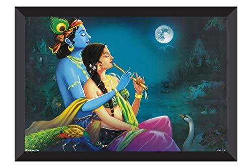 SAF Modern Art 'Radhey Krishna UV Textured Framed Painting 28 cms X 35.5 cms SANFK126